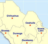 Map State of Coahuila