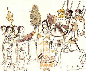 La Malinche serving as tranlator for Hernan Cortes