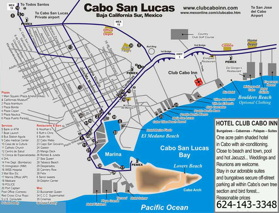 Club Cabo Inn - Cabo San Lucas Map and Activities