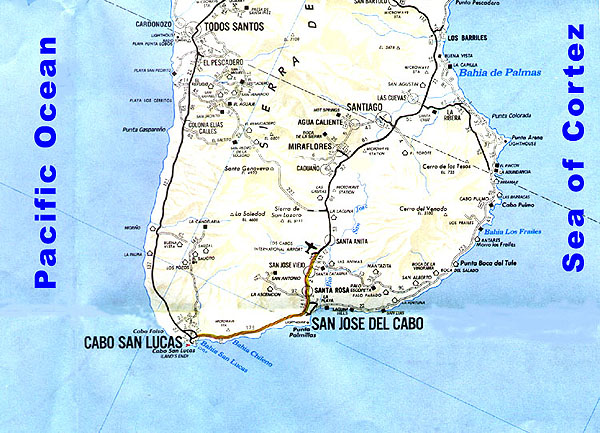 Cabo San Lucas Directory Area Map for Cabo San Lucas and the