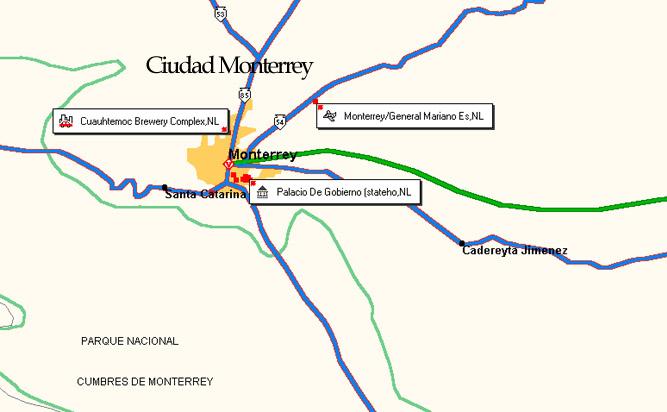 Mexonline Maps of Mexico Monterrey – Map Monterrey Mexico