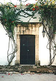 Old doorway on a colonial building